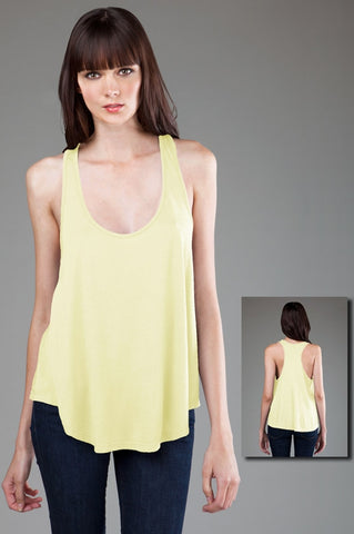 FTLA Apparel ~ For The Love of Animals Apparel:  Tank Top - Yellow eco-HYBRID™ Micro Jersey Racerback Drapey Tank