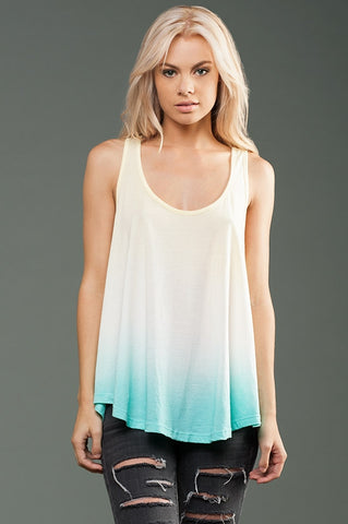 FTLA Apparel ~ For The Love of Animals Apparel:  Tank Top - Ombre Yellow & Aqua eco-HYBRID Micro Jersey Racerback Drapey Tank