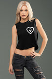 FTLA Apparel ~ For The Love of Animals Apparel:  Crop Top - eco-HYBRID Micro Jersey Loose Cropped Muscle Tank - Vegan Heart
