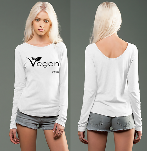 FTLA Apparel ~ For The Love of Animals Apparel:  Drop Back - White eco-HYBRID™ Slub Micro Jersey Long Sleeve Scoop Back - Vegan Leaf