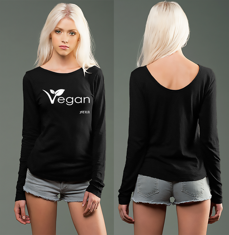 FTLA Apparel ~ For The Love of Animals Apparel:  Drop Back - Black eco-HYBRID™ Slub Micro Jersey Long Sleeve Scoop Back - Vegan Leaf