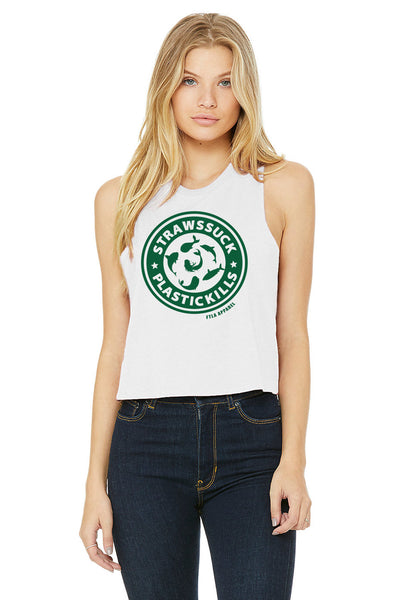 Straws Suck Plastic Kills White Racerback Crop Top