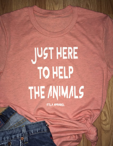 FTLA Apparel ~ For The Love of Animals Apparel:  Unisex T-Shirt - Just Here To Help The Animals Sunset Unisex Tri-Blend Jersey Tee Small - 4XL