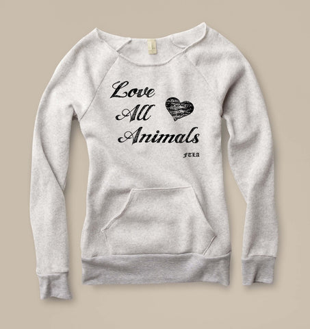FTLA Apparel ~ For The Love of Animals Apparel:  Off The Shoulder Sweatshirt - Eco Fleece Eco Oatmeal Off the Shoulder Sweatshirt – LOVE ALL ANIMALS