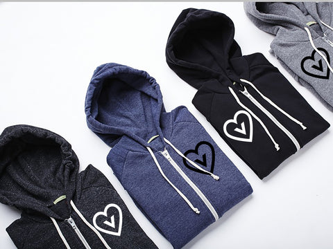 Vegan Heart Unisex Eco Fleece Zip up Hoodie Sweatshirt