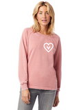 FTLA Apparel ~ For The Love of Animals Apparel:  Women's Sweatshirt - Vegan Heart French Terry Burnout Sweatshirt