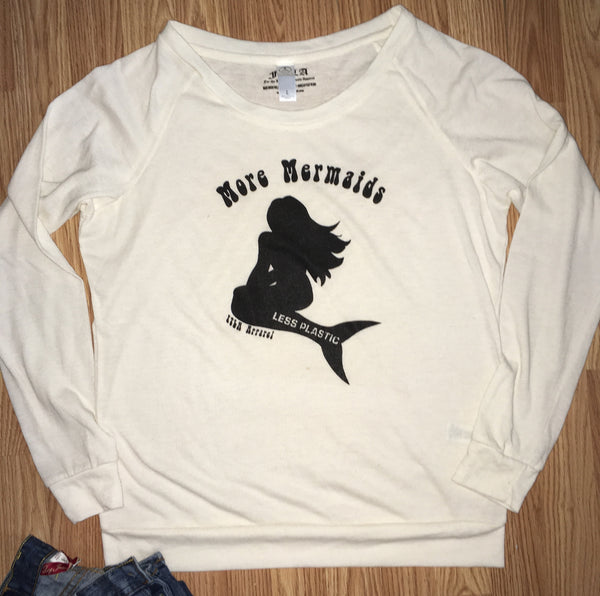 More Mermaids Less Plastic Eco Ivory Eco Jersey Off The Shoulder/Wide-neck Pullover