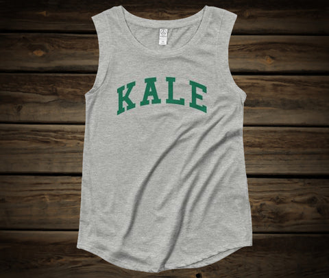 FTLA Apparel ~ For The Love of Animals Apparel:  Women's Muscle Tank - KALE Grey Ladies' Cap Sleeve Tank Top