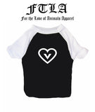 Vegan Heart Cotton 3/4 Sleeve Dog Raglan Tee