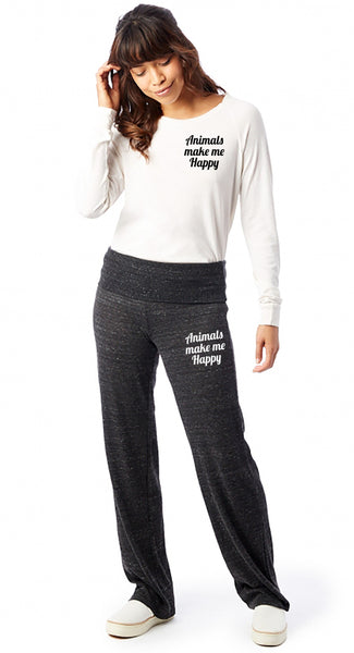 FTLA Apparel ~ For The Love of Animals Apparel:  Bottoms - Eco Jersey Fold Over Waist Lounge Pants - Animals Make Me Happy