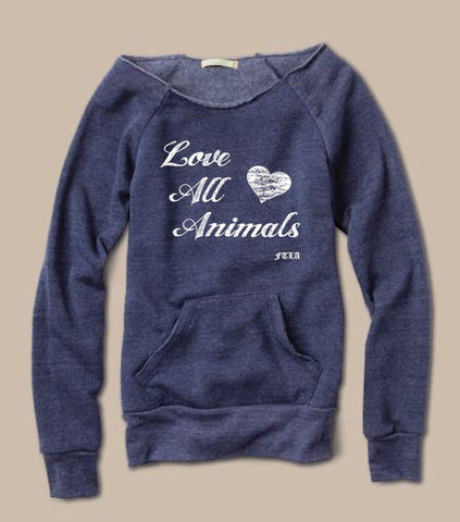 FTLA Apparel ~ For The Love of Animals Apparel:  Off The Shoulder Sweatshirt - Eco Fleece Eco Navy Off the Shoulder Sweatshirt – LOVE ALL ANIMALS