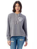 FTLA Apparel ~ For The Love of Animals Apparel:  Women's Sweatshirt - Vegan Heart French Terry Burnout Hooded Sweatshirt