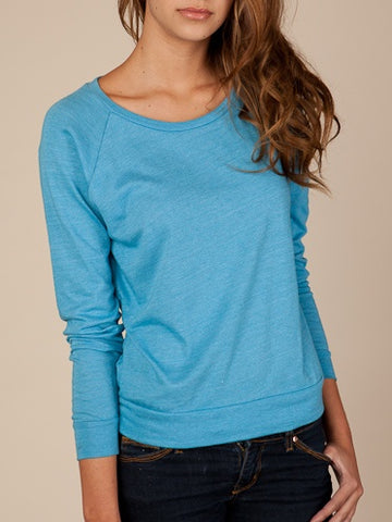 FTLA Apparel ~ For The Love of Animals Apparel:  Off The Shoulder Pullover - READY TO SHIP SALE SIZE LG Eco-Jersey Off The Shoulder Eco True Turquoise Slouchy Pullover - BLANK