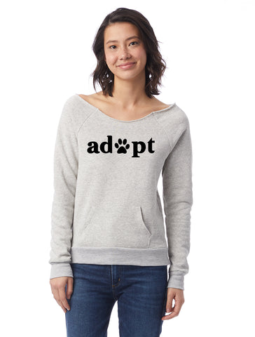 FTLA Apparel ~ For The Love of Animals Apparel:  Off The Shoulder Sweatshirt - Adopt Eco Oatmeal Eco Fleece Off the Shoulder Sweatshirt