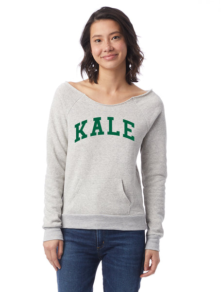 FTLA Apparel ~ For The Love of Animals Apparel:  Off The Shoulder Sweatshirt - KALE Eco Oatmeal Eco Fleece Off the Shoulder Sweatshirt