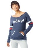 FTLA Apparel ~ For The Love of Animals Apparel:  Off The Shoulder Sweatshirt - Adopt Eco Navy Stripes Eco Fleece Off the Shoulder Sweatshirt
