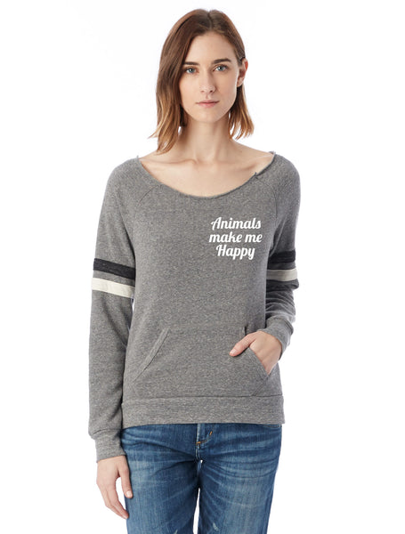 FTLA Apparel ~ For The Love of Animals Apparel:  Off The Shoulder Sweatshirt - Animals Make Me Happy Eco Grey Stripes Eco Fleece Off the Shoulder Sweatshirt
