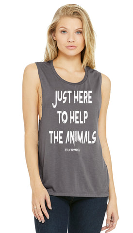 FTLA Apparel ~ For The Love of Animals Apparel:  Muscle Tank - Just Here To Help The Animals Deep Side Cut Storm Muscle Tank