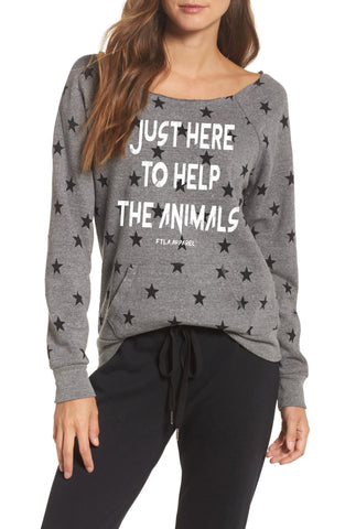 Just Here To Help The Animals Eco Grey Stars Eco Fleece Off the Shoulder Sweatshirt