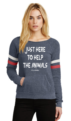 FTLA Apparel ~ For The Love of Animals Apparel:  Off The Shoulder Sweatshirt - Just Here To Help The Animals Eco Navy Stripes Eco Fleece Off the Shoulder Sweatshirt