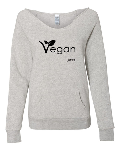 FTLA Apparel ~ For The Love of Animals Apparel:  Off The Shoulder Sweatshirt - Vegan Leaf Eco Oatmeal Eco Fleece Off the Shoulder Sweatshirt