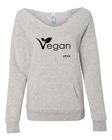 Vegan Leaf Eco Oatmeal Eco Fleece Off the Shoulder Sweatshirt