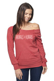 FTLA Apparel ~ For The Love of Animals Apparel:  Off The Shoulder Sweatshirt - Animals > Humans Eco Red Off the Shoulder Sweatshirt - Made in the USA XS - XL