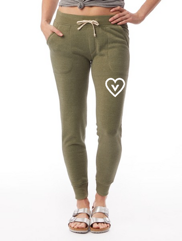 FTLA Apparel ~ For The Love of Animals Apparel:  Yoga Pants - Eco Fleece Jogger Sweatpants - Vegan Heart