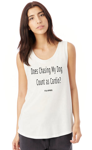 Does Chasing My Dog Count as Cardio? White Ladies' Cap Sleeve Tank Top