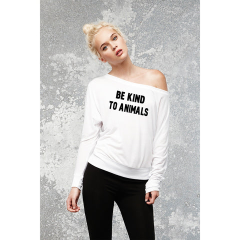 FTLA Apparel - Be Kind To Animals Off The Shoulder Flowy Pullover - XS-2XL-Off The Shoulder Pullover-For The Love of Animals Apparel