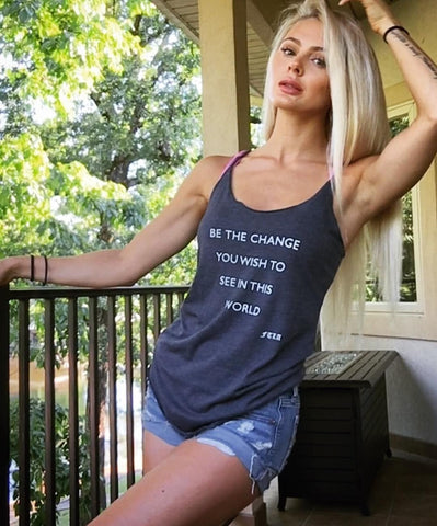 FTLA Apparel ~ For The Love of Animals Apparel:  Tank Top - Be The Change You Wish To See in This World - Racerback Tank Top