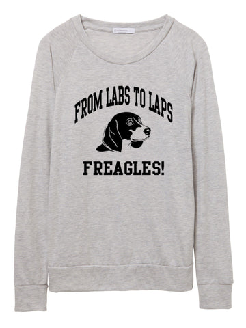 FTLA Apparel ~ For The Love of Animals Apparel:  Off The Shoulder Pullover - Rescue + Freedom Project From Labs To Laps FREAGLES - Eco Jersey Eco Oatmeal Slouchy Pullover