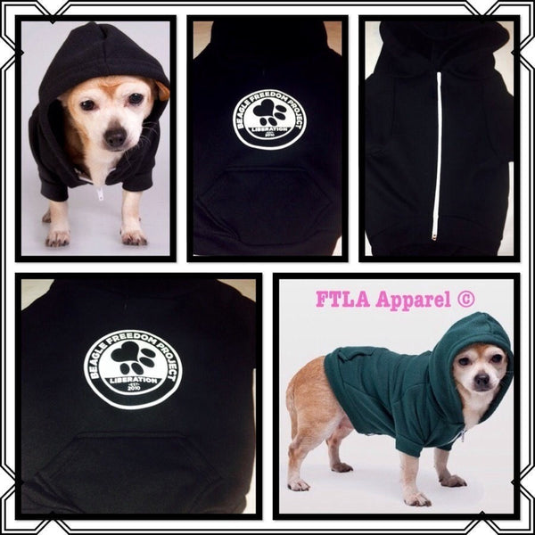 FTLA Apparel ~ For The Love of Animals Apparel:  Doggy Clothes - Beagle Freedom Project Flex Fleece Dog Zip Hoodie XS-2XL - BFP Logo