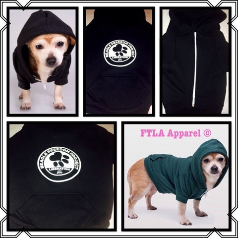 FTLA Apparel Beagle Freedom Project FTLA Apparel– Flex Fleece Dog Zip Hoodie XS-2XL - Bfp Logo-Doggy Clothes-FTLA Apparel-XS-Black-For The Love of Animals Apparel