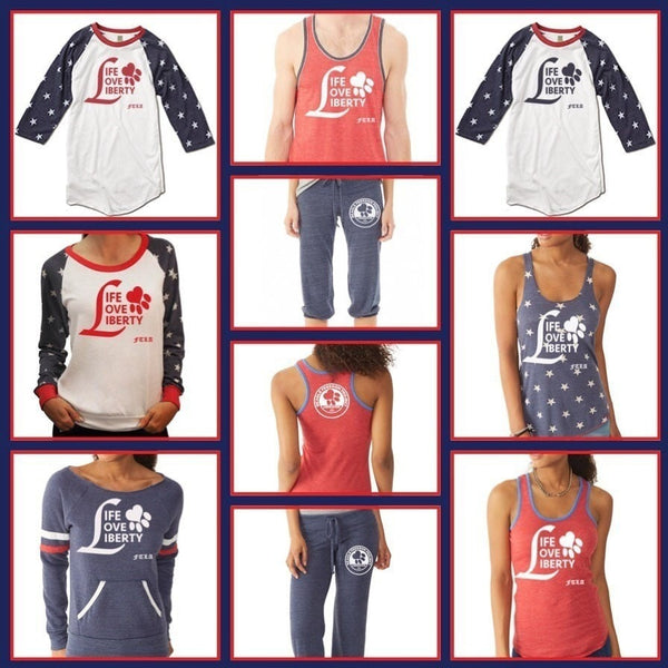 FTLA Apparel - Beagle Freedom Project Unisex Eco Jersey Stars Baseball Tee - Life Love Liberty-Unisex-For The Love of Animals Apparel