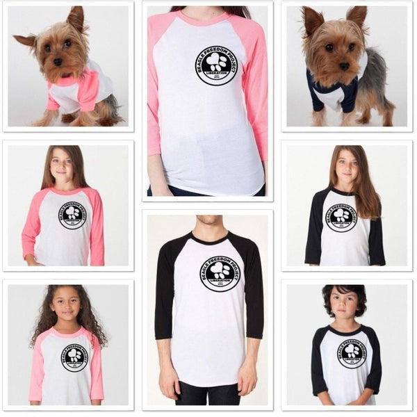 FTLA Apparel - Beagle Freedom Project Unisex Poly-Cotton 3/4 Sleeve Raglan Shirt - BFP FTLA Apparel-Unisex Baseball tee-For The Love of Animals Apparel