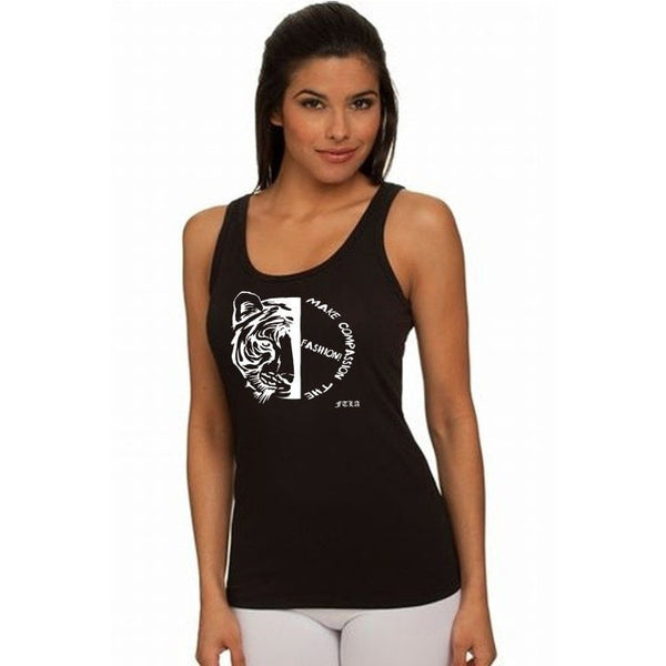 FTLA Apparel ~ For The Love of Animals Apparel:  Tank Top - Black Ladies Jersey Tank Top - Make Compassion The Fashion!