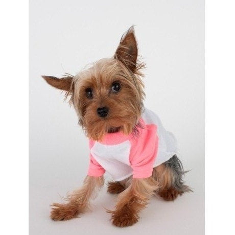 FTLA Apparel Cotton 3/4 Sleeve Doggy Baseball Raglan Tee - Be Kind To Animals OR My Mommy Will Kill You!-Doggy Clothes-FTLA Apparel-XS-White/Pink-For The Love of Animals Apparel