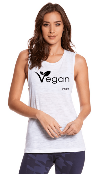 FTLA Apparel ~ For The Love of Animals Apparel:  Muscle Tank - Deep Side Cut Slub Snow Muscle Tank Top VEGAN LEAF