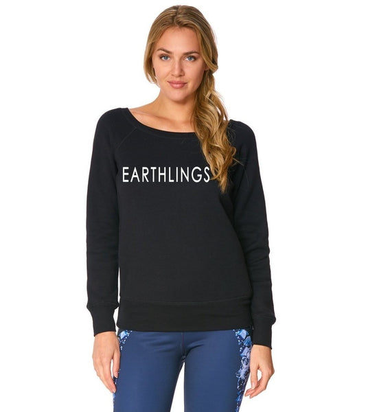 FTLA Apparel EARTHLINGS True Black Tri-blend Fleece Off the Shoulder Sweatshirt - MAKE THE CONNECTION-Off The Shoulder Sweatshirt-FTLA Apparel-Small-True Black-For The Love of Animals Apparel