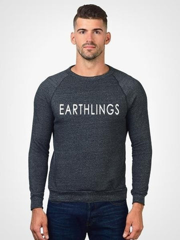 FTLA Apparel - EARTHLINGS Unisex Eco Fleece Eco Black Crewneck Sweatshirt - MAKE THE CONNECTION-Unisex Sweatshirts-For The Love of Animals Apparel