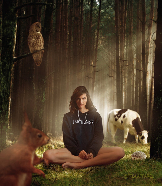 FTLA Apparel ~ For The Love of Animals Apparel:  Unisex Sweatshirts - EARTHLINGS Unisex Eco Fleece Eco Charcoal Hooded Pullover Sweatshirt - MAKE THE CONNECTION