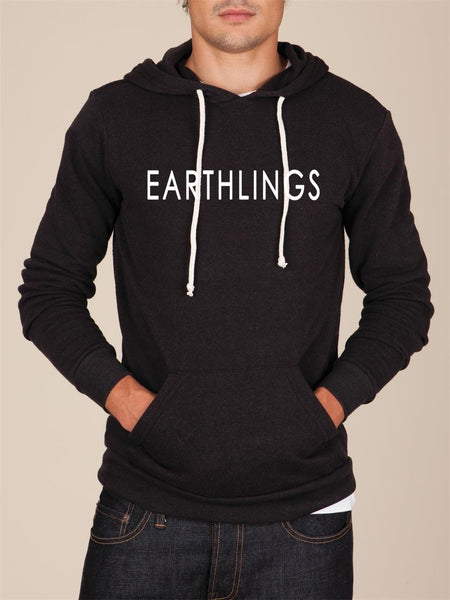 FTLA Apparel ~ For The Love of Animals Apparel:  Unisex Sweatshirts - EARTHLINGS Unisex Eco Fleece Eco True Black Hooded Pullover Sweatshirt - MAKE THE CONNECTION