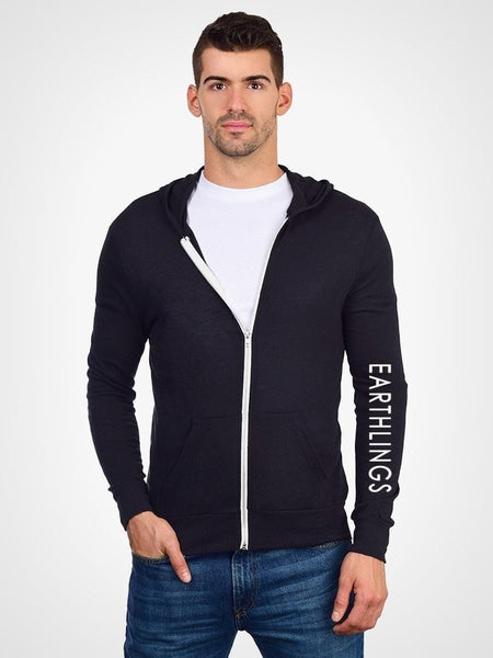 FTLA Apparel EARTHLINGS Unisex Eco Jersey Black Hooded Zip Up Sweatshirt - MAKE THE CONNECTION-Unisex Lightweight Sweatshirt-FTLA Apparel-Small-For The Love of Animals Apparel