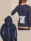 FTLA Apparel EARTHLINGS Unisex Eco Jersey Navy Hooded Zip Up Sweatshirt - MAKE THE CONNECTION SM - 2XL-Unisex Lightweight Sweatshirt-FTLA Apparel-For The Love of Animals Apparel
