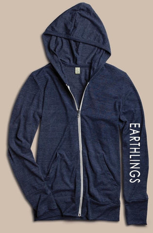 FTLA Apparel EARTHLINGS Unisex Eco Jersey True Navy Hooded Zip Up Sweatshirt - MAKE THE CONNECTION-Unisex Lightweight Sweatshirt-FTLA Apparel-Small-For The Love of Animals Apparel
