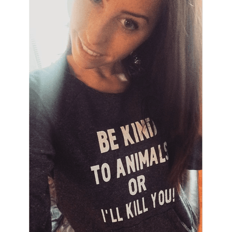 FTLA Apparel ~ For The Love of Animals Apparel:  Off The Shoulder Sweatshirt - Eco Black Eco-Friendly Off the Shoulder Sweatshirt – BE KIND TO ANIMALS OR I'LL KILL YOU!