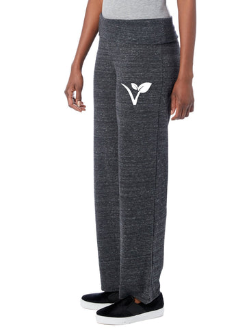 "FTLA Apparel Eco Black Eco Jersey Fold Over Waist Lounge Pants - ""V"" Leaf-Bottoms-FTLA Apparel-S-Eco Black-For The Love of Animals Apparel"