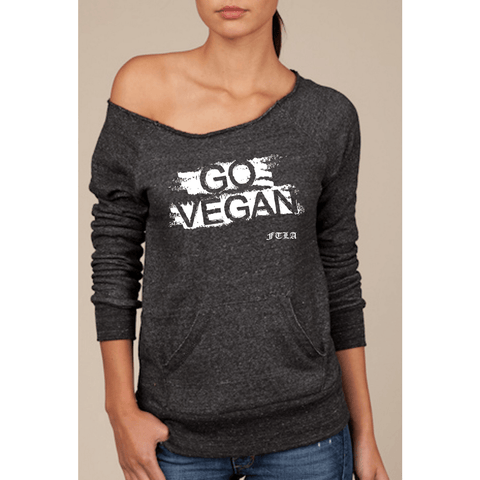 FTLA Apparel Eco Black Off the Shoulder Eco Fleece Sweatshirt - GO VEGAN-Off The Shoulder Sweatshirt-FTLA Apparel-SM-White Ink-For The Love of Animals Apparel