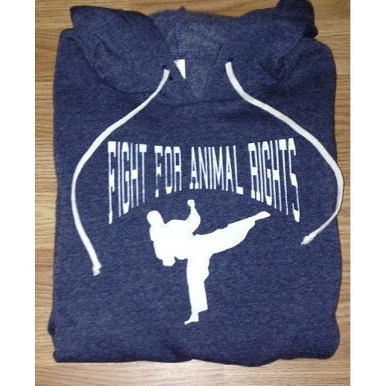 FTLA Apparel - Eco Fleece Eco True Navy Unisex Hooded Pullover Sweatshirt - Fight For Animal Rights - Unisex Sweatshirts